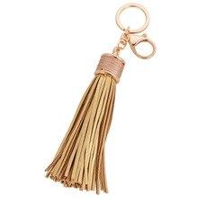 Pretty Girls New Fashion Tassel Key Chain Women Cute Tassel KeyChain Bag Accessory PU Leather Tassels Car Key Ring Fringe Jewelr