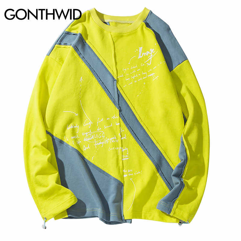 GONTHWID Unregelmäßige Farbe Block Patchwork Pullover Sweatshirts Hip Hop Hipster Punk Rock Streetwear Hoodies Mode Casual Tops