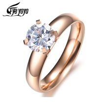 EyeYoYo Fashion Crystal Drill Wedding Ring Female 316 Stainless Steel Silver Rose Gold Wholesale Rings