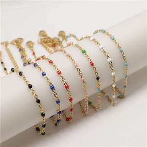 Anklet Jewelry Link-Chain Stainless-Steel Gold Multicolor-On-Foot Women Leg Fashion 1-Pc