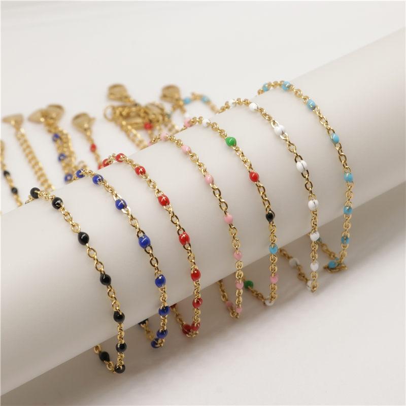 1 PC Fashion Stainless Steel Anklet Enamel Gold Multicolor On Foot Ankle Bracelets Women Men Leg Link Chain Jewelry 23cm Long