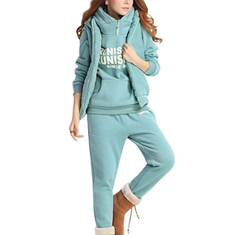 Набор для фитнеса из 3 предметов, женские толстовки с капюшоном, теплый спортивный костюм с буквенным принтом, комплект из толстых топов и штанов, Женский бархатный плотный костюм