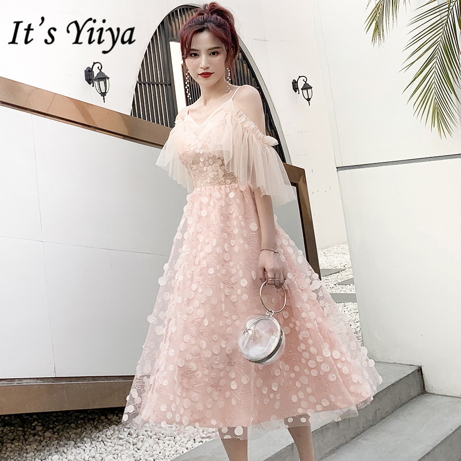 It's Yiiya Prom Dresses 2020 Elegant Pink Sweetheart Vestidos De Gala Plus Size Sling Tea-length Women Formal Party Dress E1396