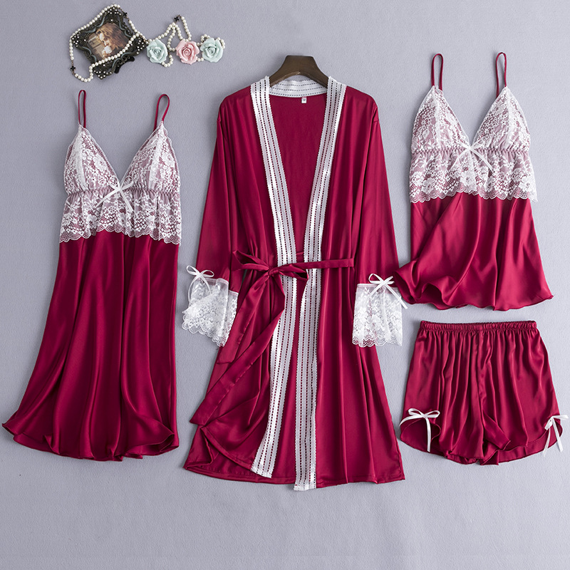 JULY'S SONG New Spring  Sleepwear 4 Piece Sexy Lace Pajamas Set Women Faux Silk Lace Sling Sleeveless Shirt Shorts Summer Robe