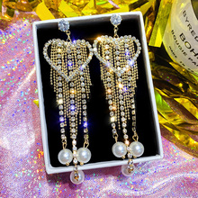S925  love long paragraph pearl pendant earrings female character , personality pai korea take the earring