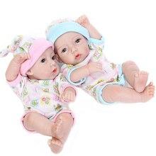 Mini Reborn Babies Doll Full Silicone Vinyl Cute Twins Baby Dolls Lifelike Reborns For Toddler Bathing Funny Toys kids