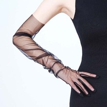 Tulle Gloves Sheer Women Accessory Five-Fingers mitts Photo-Shooting Long Fashion Elbow