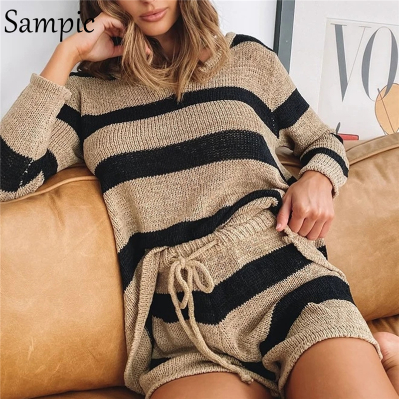 Sampic Casual Tracksuit Women Knitted Striped Shorts Set Loose Long Sleeve Tops And High Waisted Mini Shorts Two Piece Set Women