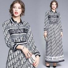 Европа и Америка, Ранняя осень, стиль, модное элегантное приталенное облегающее длинное платье с буквенным принтом