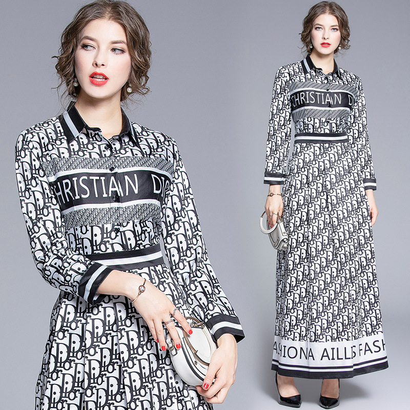 Europe And America 2019 Early Autumn New Style Versitile Fashion Elegant Waist Hugging Slimming Printed Letter Long Dress