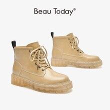 Ladies Footwear Platform-Shoes Ankle-Boots Beautoday Split Round-Toe Autumn Winter Women