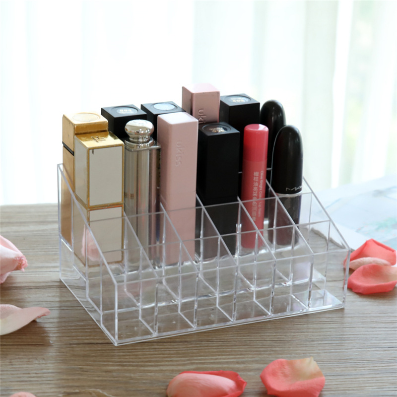 24 Lattice Lipstick Display Small Nail Polish Chun Gao Jia Transparent Cosmetics Desktop Storage Box Sample Rack