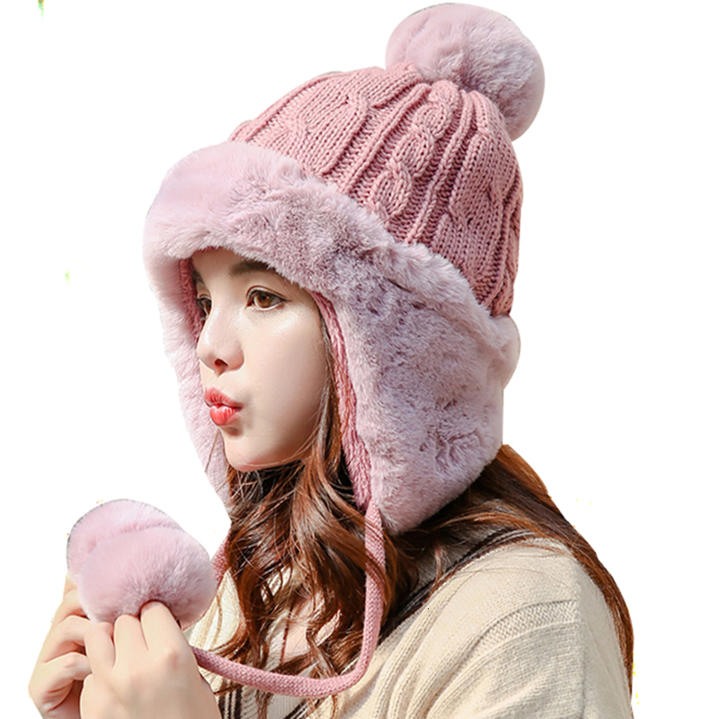 New Girl Warm Ski  Brand Big Fur Pom Poms Warm Knit Hat Set Winter Women Wool Beanie Hat Thick Skullies Female Cap