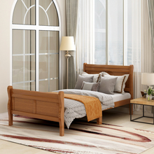 Nordic Style Wood Platform Bed Twin Bed Frame With Headboard Footboard Home Furniture Wood Slat Support