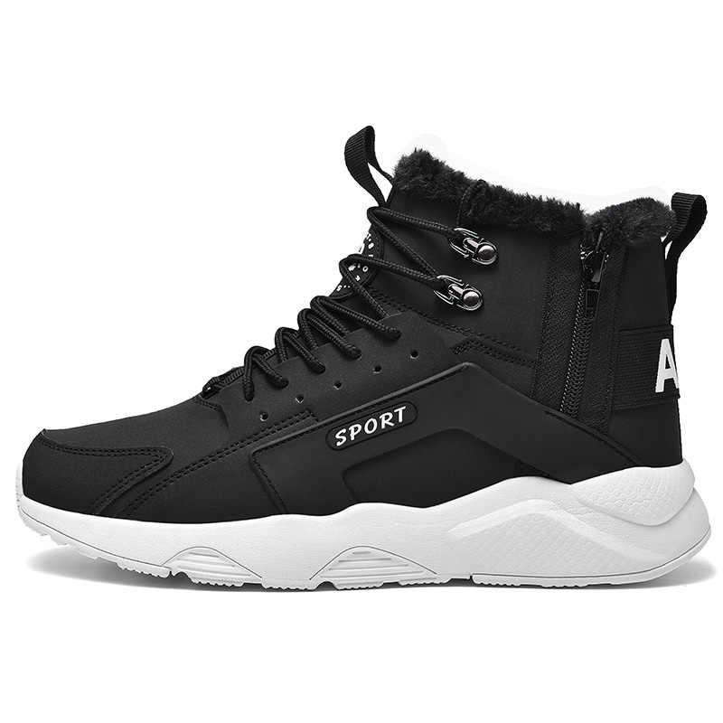 Botas impermeables de piel de marca 2019 para hombre, botas de piel para invierno, botas de nieve para hombre, botas casuales de felpa para hombre, botas al aire libre