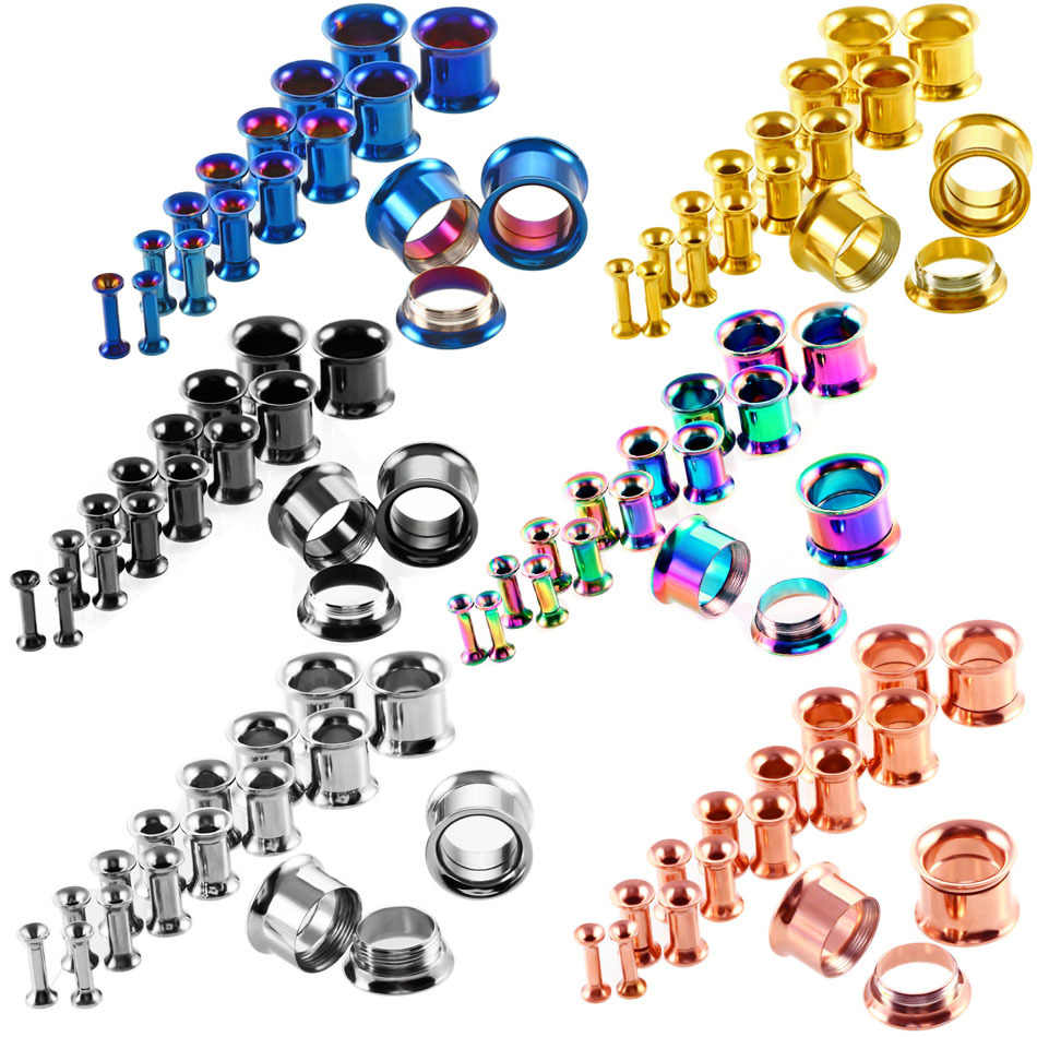 6 Colors Stainless Steel Saddle Ear Tunnels Plug Earrings Ear Expander Gauges Double Flare Unisex Fashion Body Piercing Jewelry