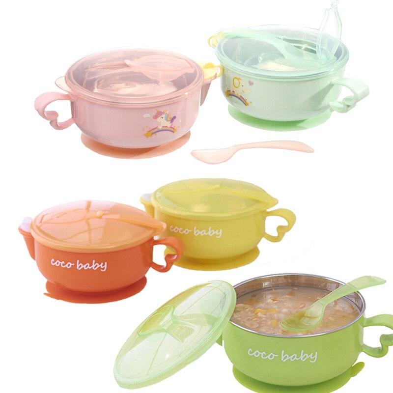 Детская посуда чаша из нержавеющей стали, чаша для сохранения тепла, чаша всасывания пищи, набор ложек