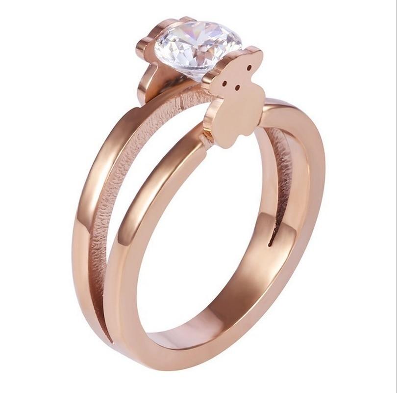 Новые модные кольца, ювелирные изделия, двухсторонние кольца с имитацией медведя, ювелирные изделия, женские очаровательные обручальные ко...