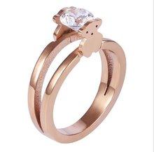 Nova moda anel de jóias duplo-face urso imitação anéis de jóias feminino charme anéis de casamento