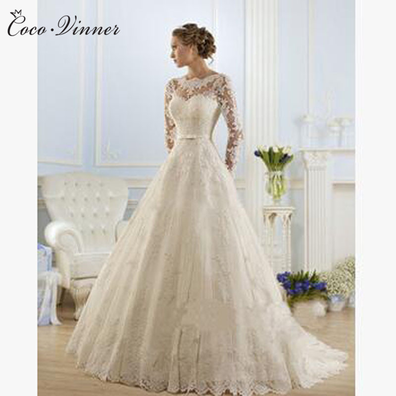 O Neck See-through Long Sleeves Pearls And Beading Sashes Embroidered Lace On Net A-line Wedding Dresses свадебное платье W0009