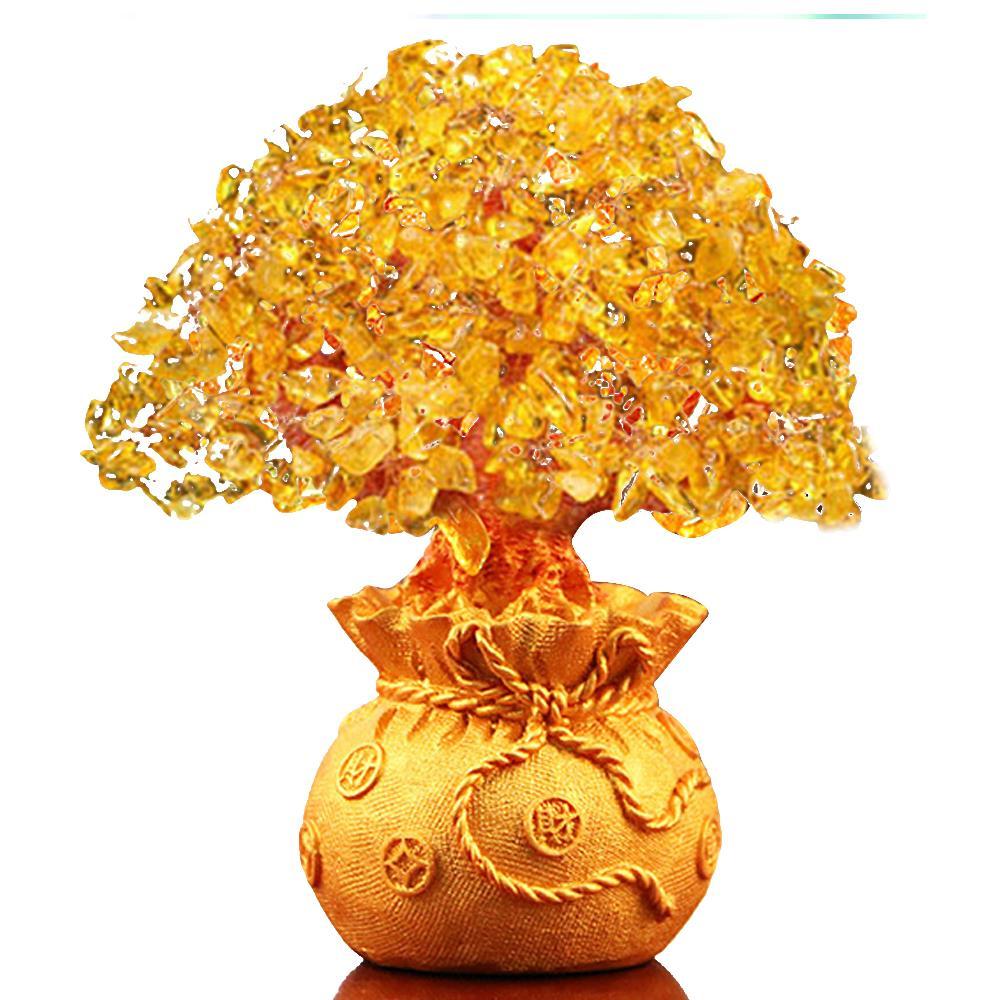 Bolsa de cristal árvore ornamento dinheiro árvore ornamento fortuna árvore ornamento decoração para casa negócio casamento dourado celebração