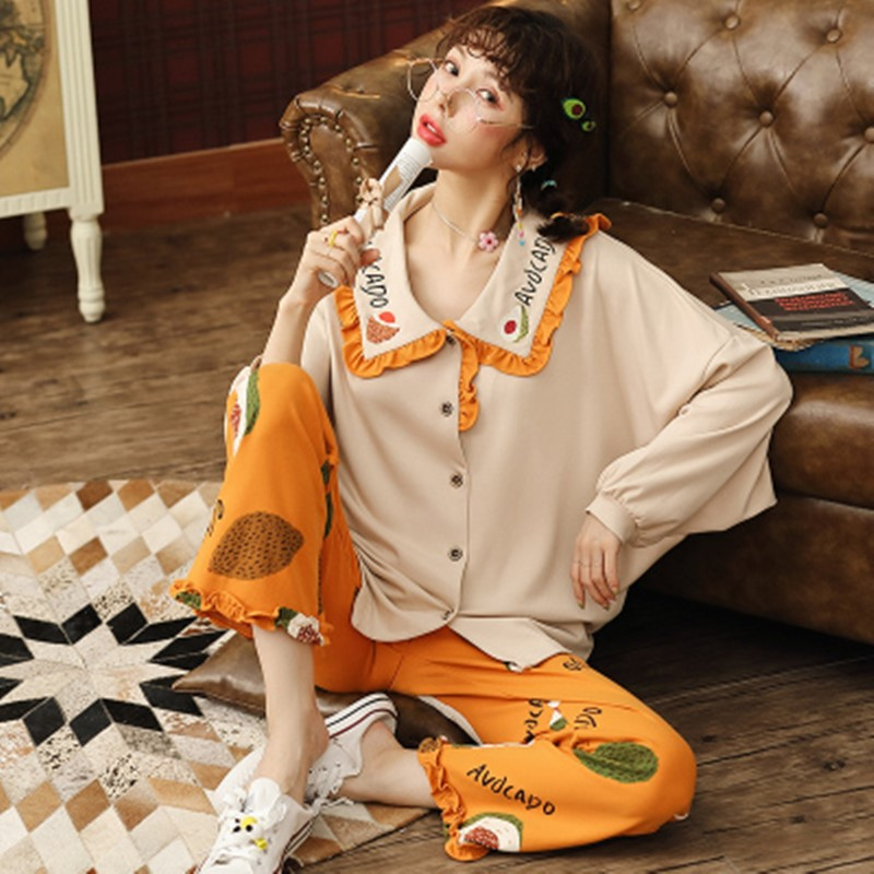 COTTON PAJAMA women's long sleeve Korean version loose large lovely baby collar home clothes leisure spring autumn cotton suit