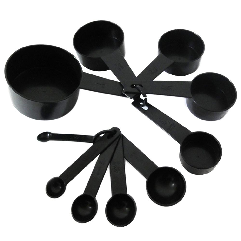 10pcs Measuring Spoons Cups Set  Black Plastic Tsp Bsp Coffee Spoon Kitchen Baking Cooking Tool