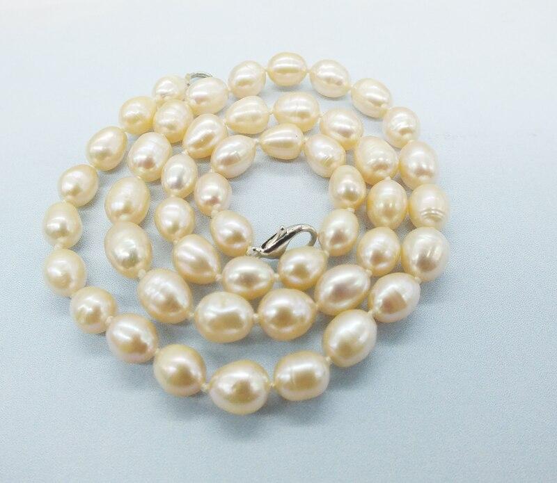 """Промо-Акция! 7-8 мм натуральный черный рис зернистый пресноводный жемчуг ожерелье. Идеальный леди/девушка, вечерние/банкетные. Ювелирное ожерелье 18"""""""