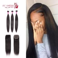 Human Hair Bundles With Closure Brazilian Hair Weave Bundles With 4X4 Lace Closure Straight Virgin Hair Bundles Fast Shipping