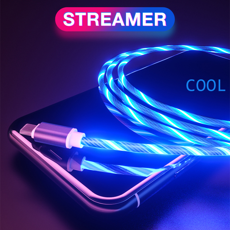 1M 2A LED Glow Flowing Micro USB Type C <font><b>Cable</b></font> For Xiaomi For Huawei For <font><b>Samsung</b></font> <font><b>S9</b></font> Android USB <font><b>Charger</b></font> TPE Bright Data <font><b>Cable</b></font> image