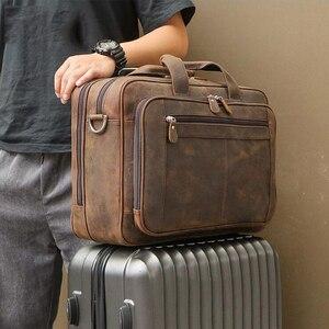 Мужской винтажный портфель MAHEU, винтажный брендовый дизайнерский портфель из кожи crazy horse, толстая деловая сумка
