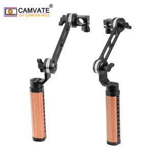 Image 2 - CAMVATE 2 adet kamera ayarlanabilir ahşap kolu kavrama ile ARRI rozet M6 montaj dişi ve 15mm tek çubuk kelepçe uzatma kolu