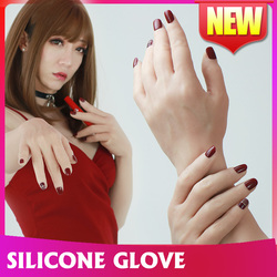Silikon mann made hohe realistische silikon handschuh mit nägel künstliche haut Lebensechte gefälschte hände für crossdresser weibliche