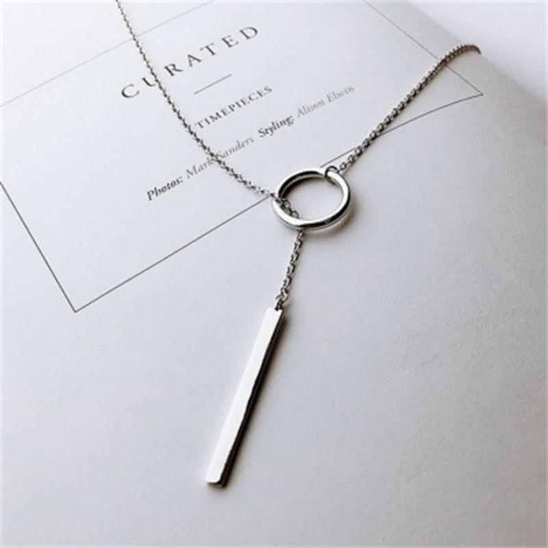 Simple Vintage Necklace Fashion Circle Strip Long Chain Pendant Women Girls Layered Cross Key Choker Beach Jewelry Accessories