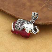 925 Sterling Silver Jewelry Retro Thai Silver Men And Women Popular Marcasite Red Corundum Small Elephant Pendant Accessories