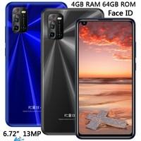 Teléfono Inteligente LTE F3 versión Global, smartphone desbloqueado con 2Sim, 4 GB de RAM, 64 GB/32 GB de rom, identificación facial de 13MP, Android, 6,72 pulgadas