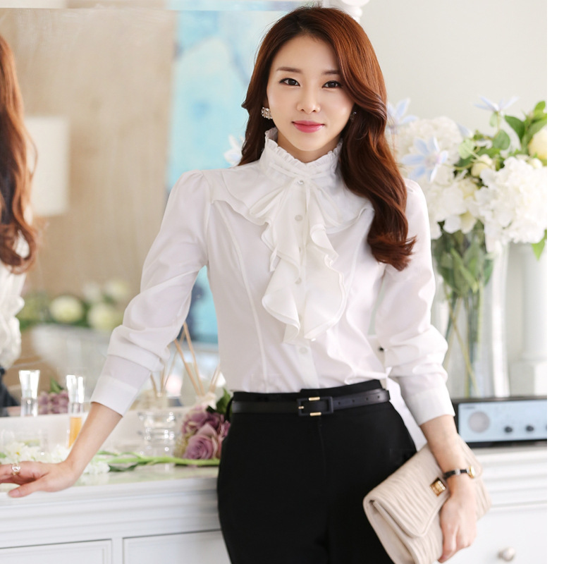 Fashion Design Women Chiffon White Blouses and Tops Long Sleeved Ruffles Stand Collar Autumn Winter 2021 Plus Size Shirts Female 4