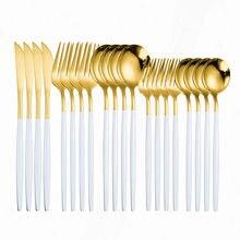 Gold Cutlery Set Spoon Stainless Steel Tableware Kitchen Dinnerware Set 20pcs Fork Knife Dinner Set Complete Spoon White