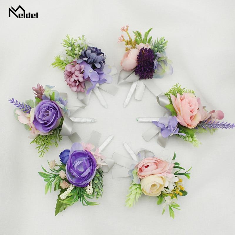 Meldel Wedding Groom Boutonniere Bridesmaids Bracelet Silk Rose Women Brooch Corsage Pin Flowers Wedding Witness Corsage Flowers