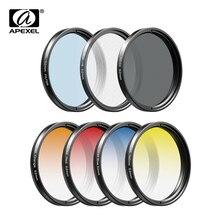APEXEL Kit de filtros con gradiente 7 en 1, lentes de teléfono para Sony Cannon, lente para cámara Nikon, azul, rojo, CPL, ND Star, UV, 37/52MM