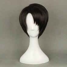 Атака на Титанов levi ackerman косплей парик черные короткие