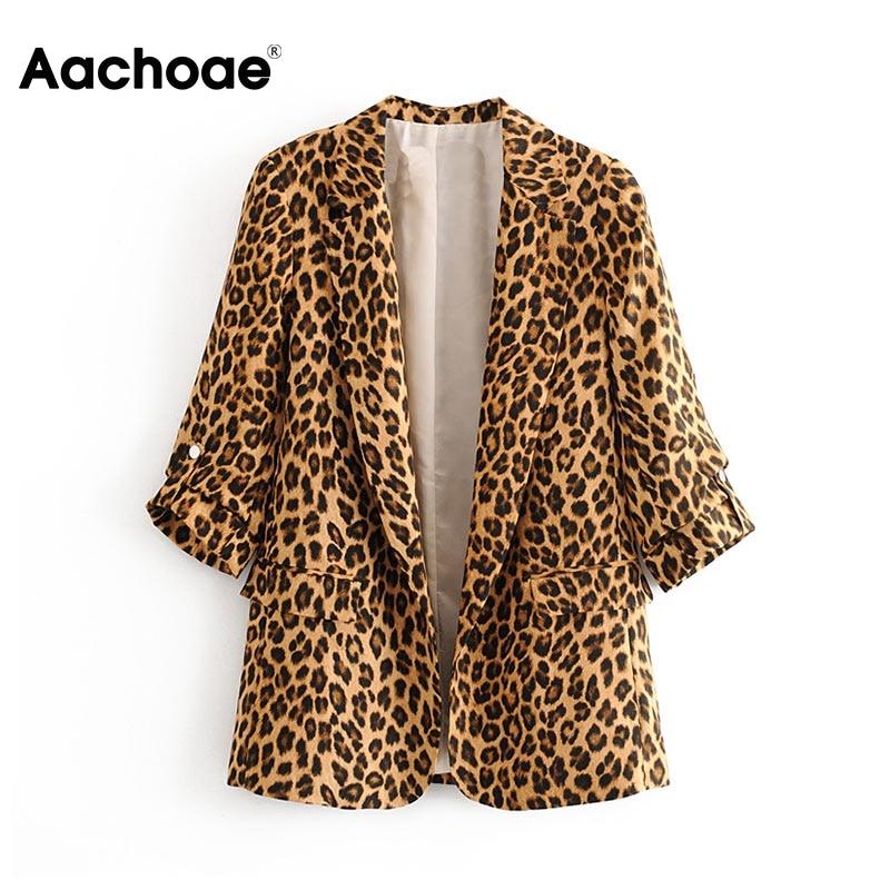 Women Retro Leopard Blazer Suit Pockets Notched Collar Three Quarter Sleeve Jacket Coat Lady Office Work Wear Blazers