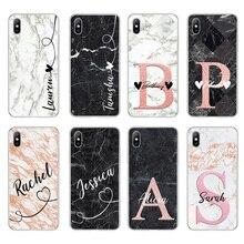 Lovebay DIY nazwa niestandardowe etui na telefony dla iPhone 11 Pro 6 6s 7 8 Plus X XR XS Max 5 5s SE moda dostosowane marmur miękka TPU okładka