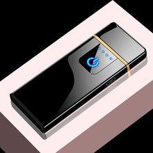 Ultra-fino usb metal isqueiro elétrico criativo duplo-lado flameless recarregável isqueiros gadgets de fumar para homem