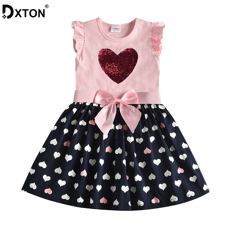 DXTON 2020 Girls Clothes New Summer Girls Dresses Flying Sleeve Princess Dress Sequin Heart Girls Vestidos Casual Children Dress