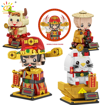 HUIQIBAO City Car Funko Figures Building Blocks God of Wealth Fortune Cat Shake Head dolls Creativity Bricks Toys Children Gifts image