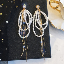 Korean Fashion Crystal Pearl Tassel Earrings Geometric Exaggerated Temperament Long Chain Pendant Earrings Ladies Party Jewelry new ladies long pendant metal tassel earrings fashion jewelry personality geometric ladies earrings pendant jewelry