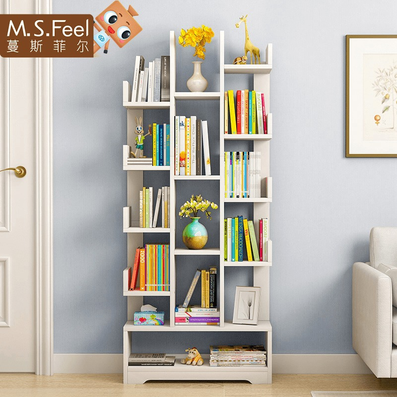 Man Patriarch Simplicity Tree Bookshelf Economical Minimalist Modern Floor Storage Shelf Students Creative Assembly Bookcase