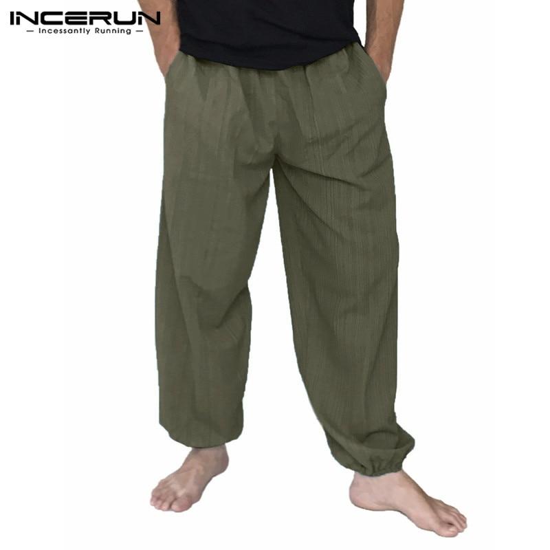 INCERUN Men Harem Pants Elastic Waist Cotton Loose Long Trousers Men Solid Wide Legs Baggy Vintage Joggers Pants Male S-5XL 2020