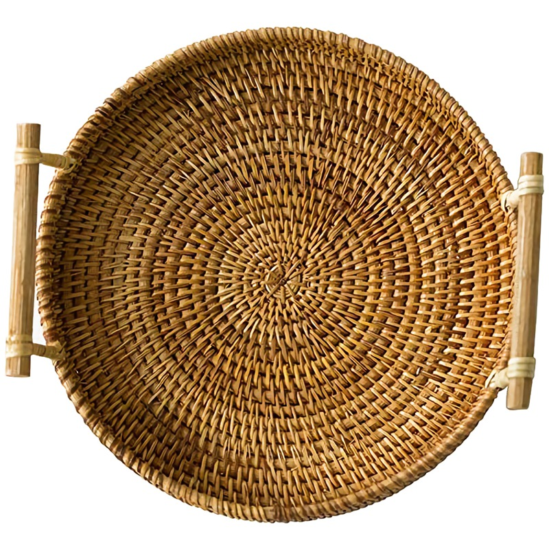 SZS Hot Rattan Bread Basket Round Woven Tea Tray With Handles For Serving Dinner Parties Coffee Breakfast (8.7 Inches)